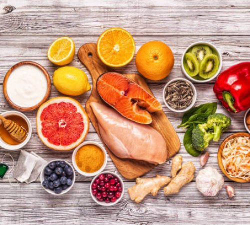 Superfoods for Immunity boosting and cold remedies, top view.